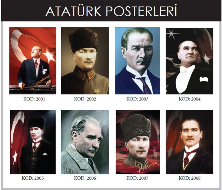 Kullanım Alanları ve Özellikleri Atatürk Posterleri; ulu önder Gazi Mustafa Kemal Atatürk'ün istediğiniz ebat ve ölçüde, poster ve bayrağı imalatının yapıldığı Gönder Bayrak; yine dijital ortamda hazırlanan afişleri istediğiniz ebat ve ölçüde hazırlar, istenilen günde teslimatını sağlar.